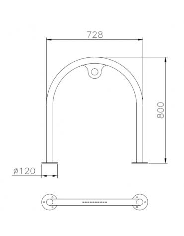 Portabici singolo realizzato ad archetto in acciaio inox. Da tassellare - cm  72x8x80h