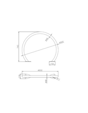 Portabici a 1-2 posti in acciaio zincato e verniciato. Da tassellare - cm Ø90x74h