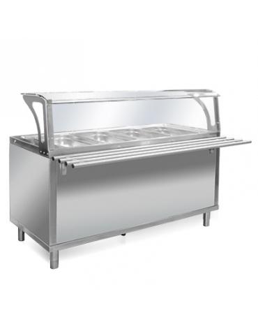 Elemento termico bagnomaria per self service N° 3 Vasche GN 1/1 - Con parafiato e bancalina - Su piedi- cm 120x94x120h