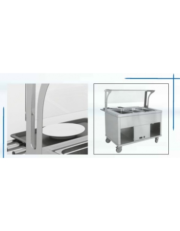 Elemento refrigerato per self service N° 3 Vasche GN 1/1 - Con parafiato e bancalina - Su piedi - cm 120x94x120h
