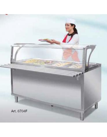 Elemento refrigerato per self service N° 4 Vasche GN 1/1 - Con parafiato e bancalina - Su piedi - cm 158x94x120h