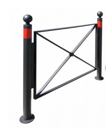 Barriera in tubolare acciaio zincato e verniciato. Supporto di mezzo da inghisare - cm 134x131,7h