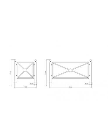 Barriera in tubolare acciaio zincato e verniciato. Supporto di mezzo da inghisare - cm 8x131,7h