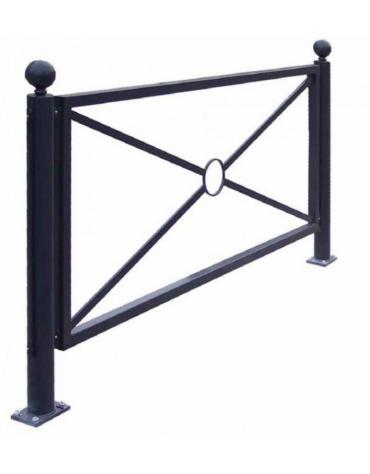 Barriera in tubolare acciaio zincato e verniciato. Supporto di testa da tassellare - cm 8x111,7h