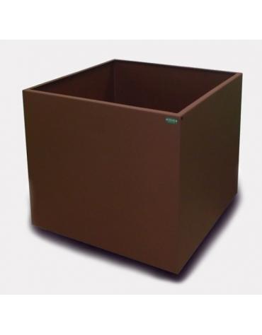 Fioriera quadrata in acciaio zincato e verniciato con fori di scolo per l'eliminazione dell'eccesso d'acqua - cm 80X80X80h