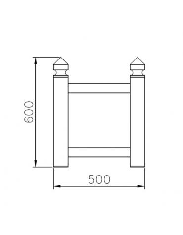 Fioriera in tubolare quadro con decori a forma rettangolare ricavati da torneria e traversi in tubo quadro - cm 50x50x60h