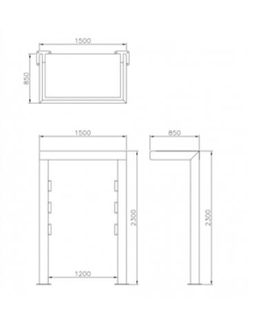 Bacheca monofacciale con tettoia, in acciaio zincato e verniciato. Da inghisare - cm 150x85x230h