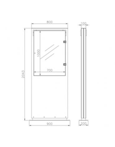 Bacheca bifacciale  in acciaio inox, con superficie espositiva con anta in vetro. Da tassellare - cm 90x204,3h
