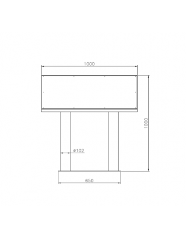 Leggio per esposizione in acciaio zincato e verniciato, con pannello cm 100x50 - dim. tot.  cm 100x38,2x100h