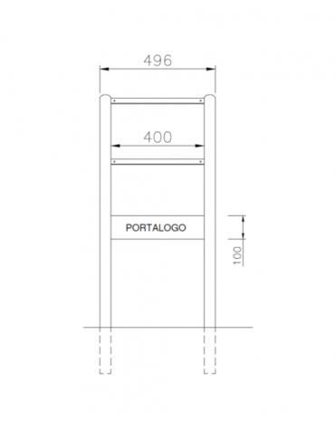 Leggio per esposizione realizzato in acciaio zincato e verniciato, con targa inferiore - cm 49,6x37,7x100h