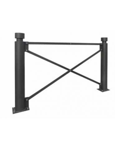Barriera in tubolare acciaio zincato e verniciato. Supporto di testa da inghisare- cm 10,2x120h