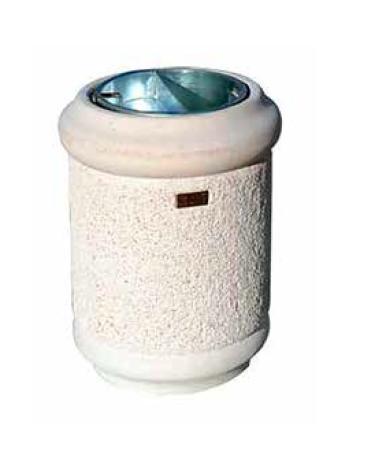 Cestino portarifiuti di forma cilindrica in cemento, finitura bocciardata e liscia, senza posacenere - cm Ø46X65h
