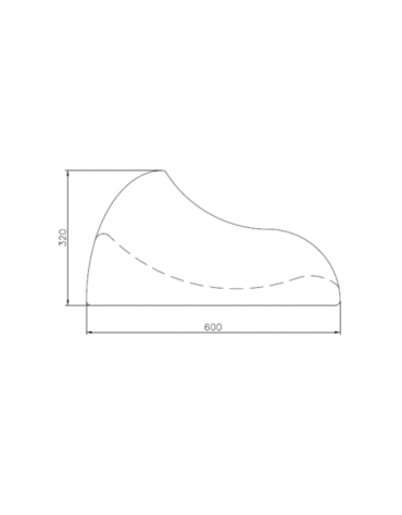 Portabici singolo è un monoblocco realizzato in cemento bianco - cm 60x24,5x32h