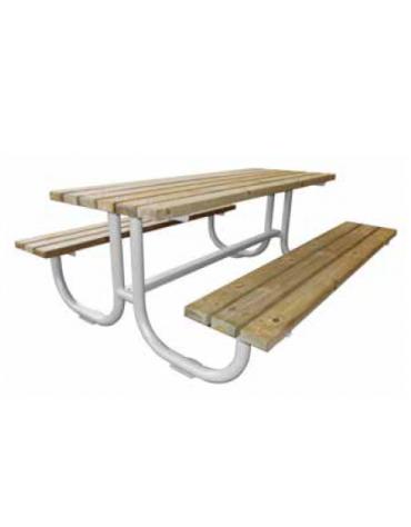 Set composto da supporti in tubolare di acciaio zincato e verniciato sagomati, doghe in legno di pino - cm 200x80h