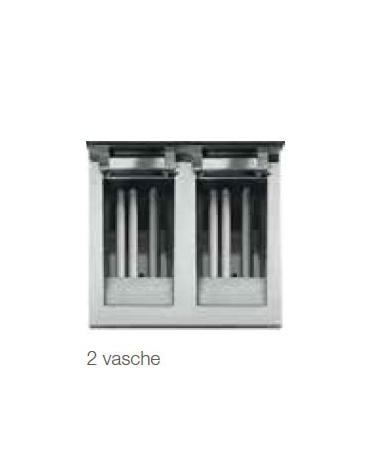 Friggitrice a gas, 2 vasche da 22+22 lt. su armadio chiuso cm 80x90xx85h