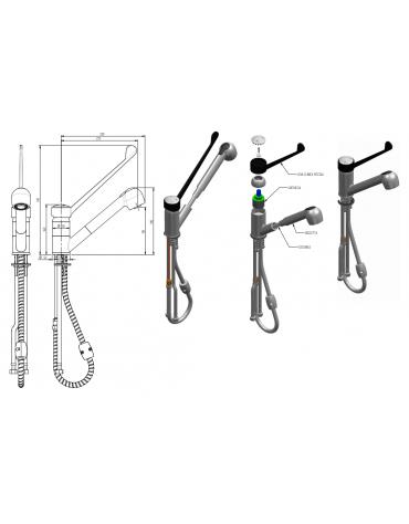 Monoforo miscelatore, con doccetta estraibile, leva clinica in plastica nera - mm 230x310h