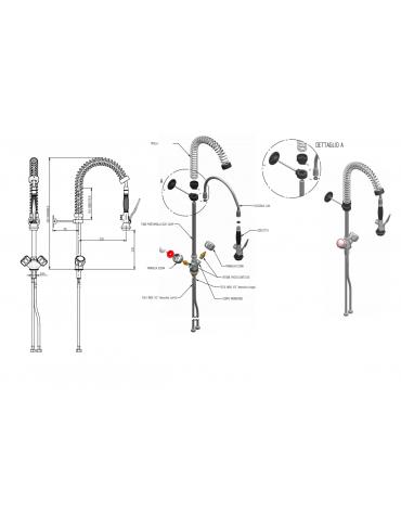 Monoforo a lavello piccolo con doccia e flessibile, maniglia Elena - mm 250x580h