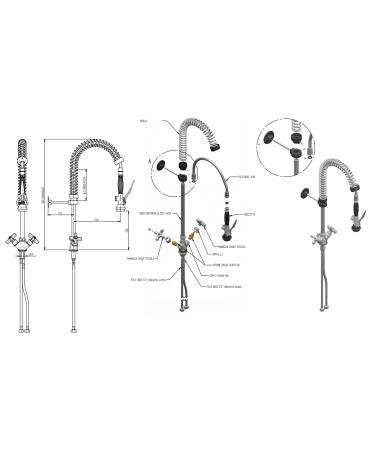 Monoforo a lavello piccolo con doccia e flessibile, maniglia Croce - mm 250x580h