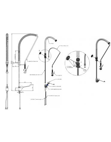 Monoforo a lavello con miscelatore lavaverdure, leva clinica - lunghezza flessibile, altezza variabile