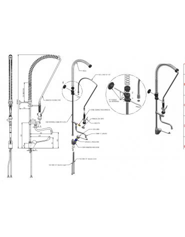 Monoforo a lavello con miscelatore lavaverdure, canna + a metà asta, clinica corta - L flessibile, h variabile