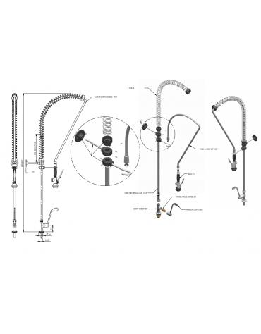 Monoforo a lavello con doccia solo acqua fredda, leva clinica con lunghezza flessibile e altezza variabile