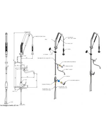 Monoforo a lavello con miscelatore con doaccia acqua stop e canna metà asta, leva corta - lunghezza flessibile, altezza mm 1165