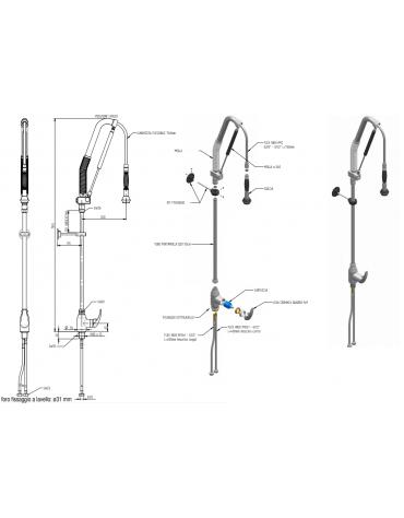 Monoforo a lavello con miscelatore con doccia acqua stop leva corta - lunghezza flessibile, altezza mm 1165
