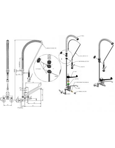 Biforo miscelatore a muro con doccia e canna, leva clinica nera in plastica - lunghezza variabile, altezza flessibile