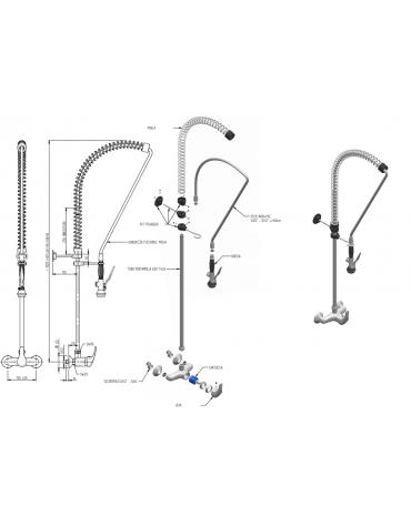Biforo miscelatore a muro lavaverdure, leva corta - lunghezza e altezza flessibile