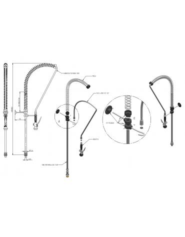 Kit doccia competo di basetta - lunghezza flessibile, altezza variabile