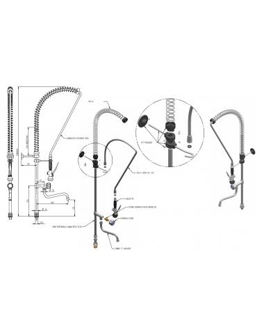Kit doccia competo di basetta e canna a metà asta mm Ø 18 - mm 280x145h