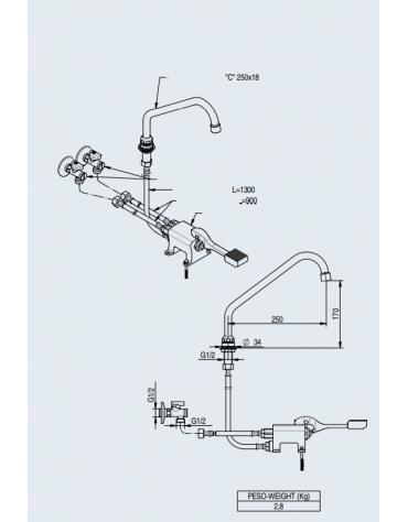 Kit miscelatore monopedale + bocca