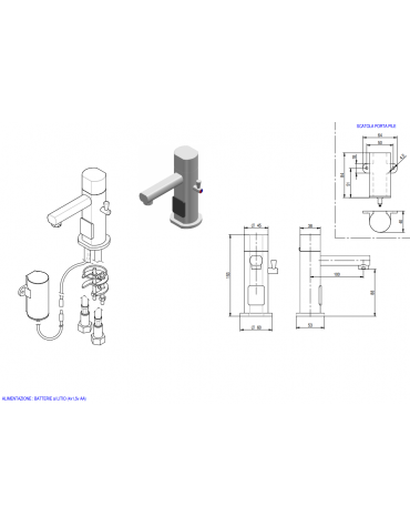 Miscelatore elettrico, alimentazione batteria - Ø mm 45 -  mm 100x153h