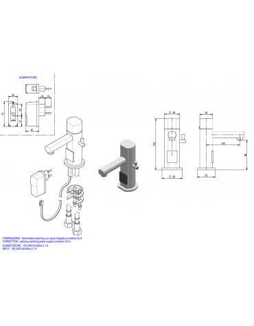Miscelatore elettrico, alimentazione elettrica - Ø mm 45 -  mm 100x153h