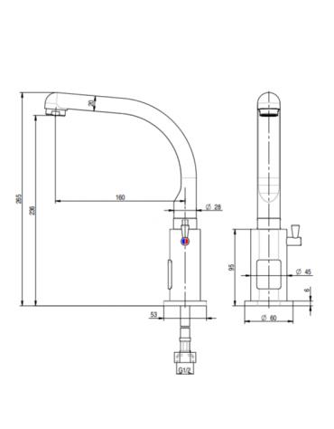 Miscelatore elettronico canna fusa, alimentazione batteria - Ø mm 20 -  mm 160x265h
