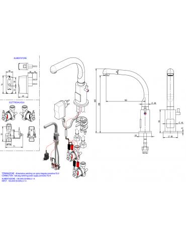 Miscelatore elettronico canna fusa, alimentazione elettricità - Ø mm 20 -  mm 160x265h