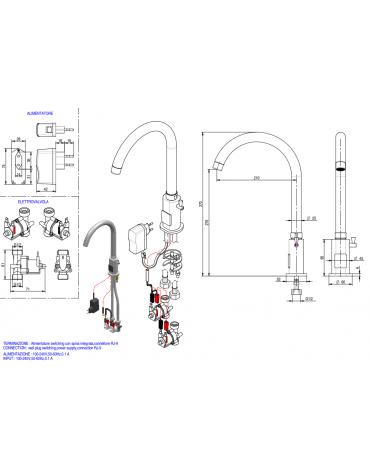 Miscelatore elettronico canna alta fissa, alimentazione elettricità - Ø mm 25 -  mm 210x276h