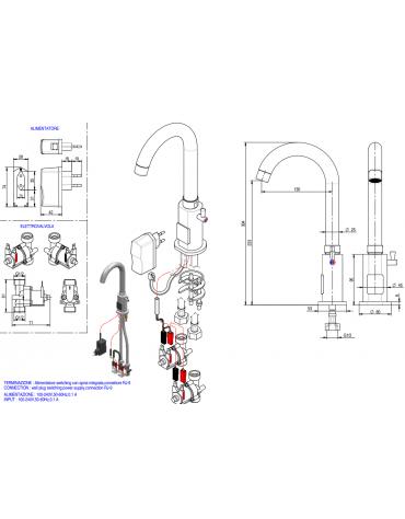 Miscelatore elettronico canna alta fissa, alimentazione elettricità - Ø mm 25 - mm 130x304h