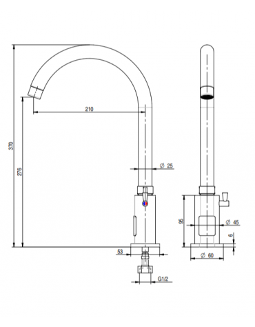 Miscelatore elettronico canna alta fissa, alimentazione batteria - Ø mm 25 -  mm 210x276h