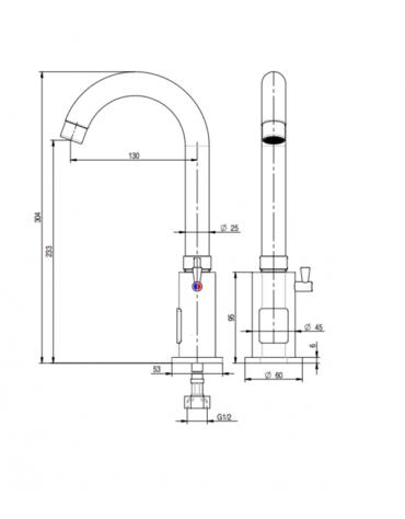 Miscelatore elettronico canna alta fissa, alimentazione batteria - Ø mm 25 - mm 130x304h