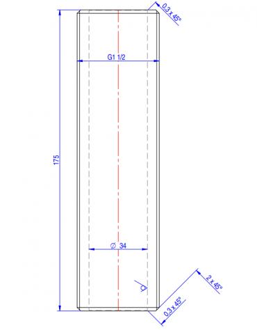 "Nipplo 1"" 1/2 - mm Ø 34x175h"
