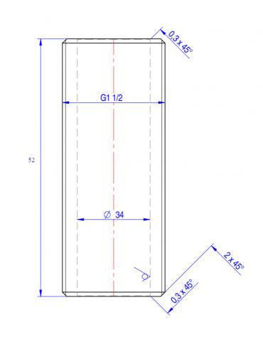 "Nipplo 1"" 1/2 - mm Ø 34x52h"