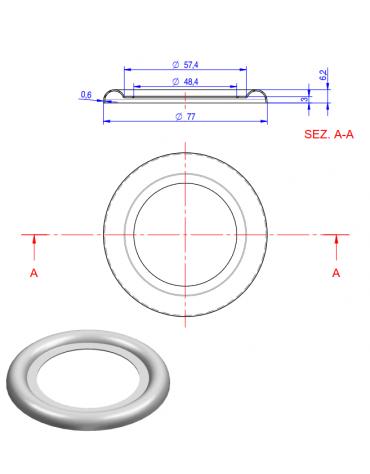"""Borchia per rubinetto scarico 2"""" -  Ø totale mm 116"""
