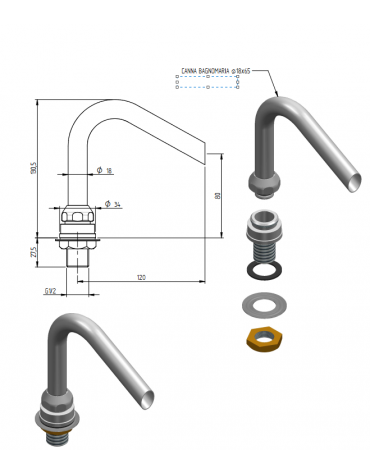 Erogatore di riempimento bagnomaria - mm Ø 18x130,5h