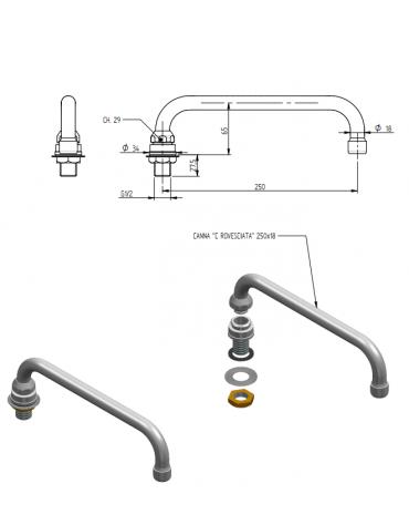 """Erogatore di riempimento con canna a """"C"""" - mm Ø 18x250x65h"""