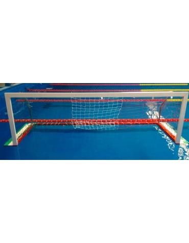 Coppia porte pallanuoto in alluminio regolamentari,  con base galleggiante e supporti reggirete posteriori