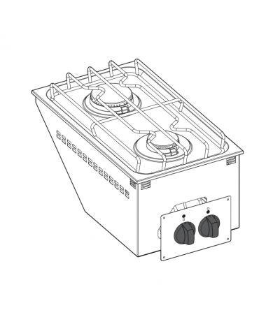 Piani cottura a gas, da incasso, 2 fuochi con potenza max 1x6 + 1x3,5 n°x kW  - mm 35x60x10h