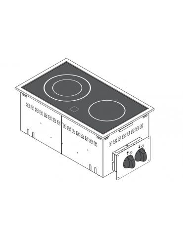 Piano di cottura elettrico in vetroceramica, da incasso, 2 piastre, con potenza 1x1,8 + 1x2,5 n°x kW  - cm 35x60x10h