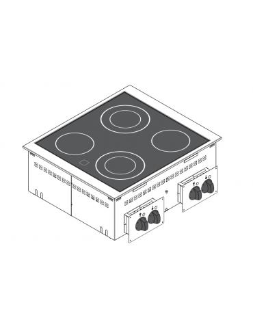 Piano di cottura elettrico in vetroceramica, da incasso, 4 piastre, con potenza 2x1,8 + 2x2,5 n°x kW  - cm 70x60x10h