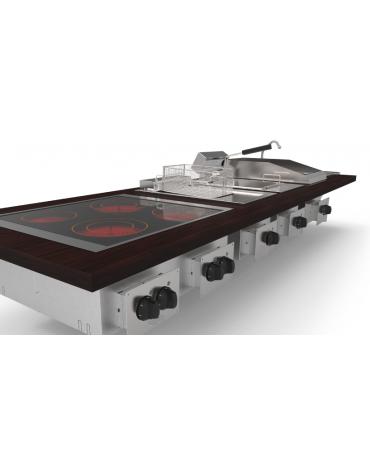 Piano cottura a gas, da incasso, 4 fuochi con potenza max 2x6 + 2x3,5 n°x kW  - mm 70x60x10h
